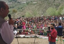 AICC leader Ghulam Nabi Azad addressing election rally in Doda on Sunday.