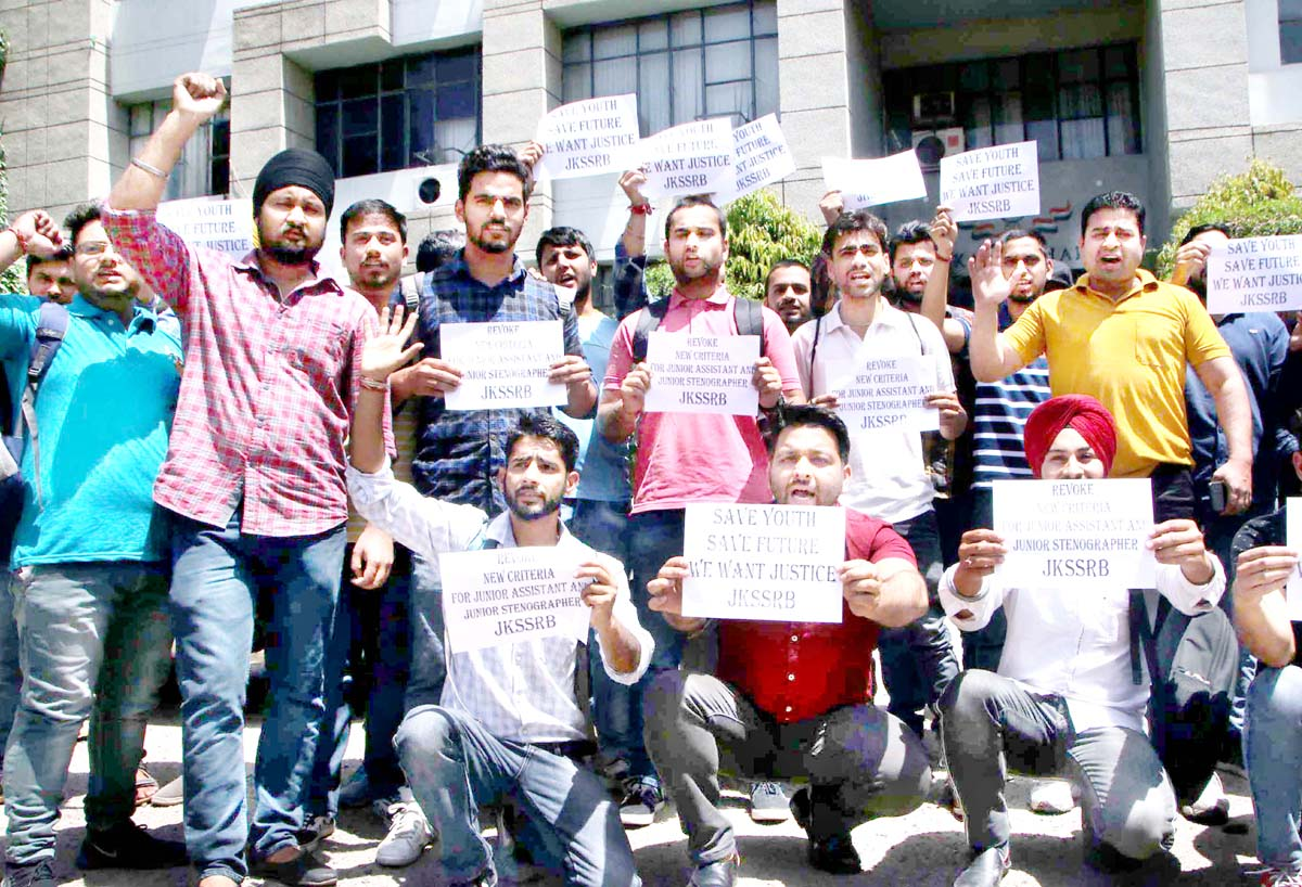 Educated unemployed youth protesting against JKSSB authorities in Jammu on Monday. -Excelsior/Rakesh