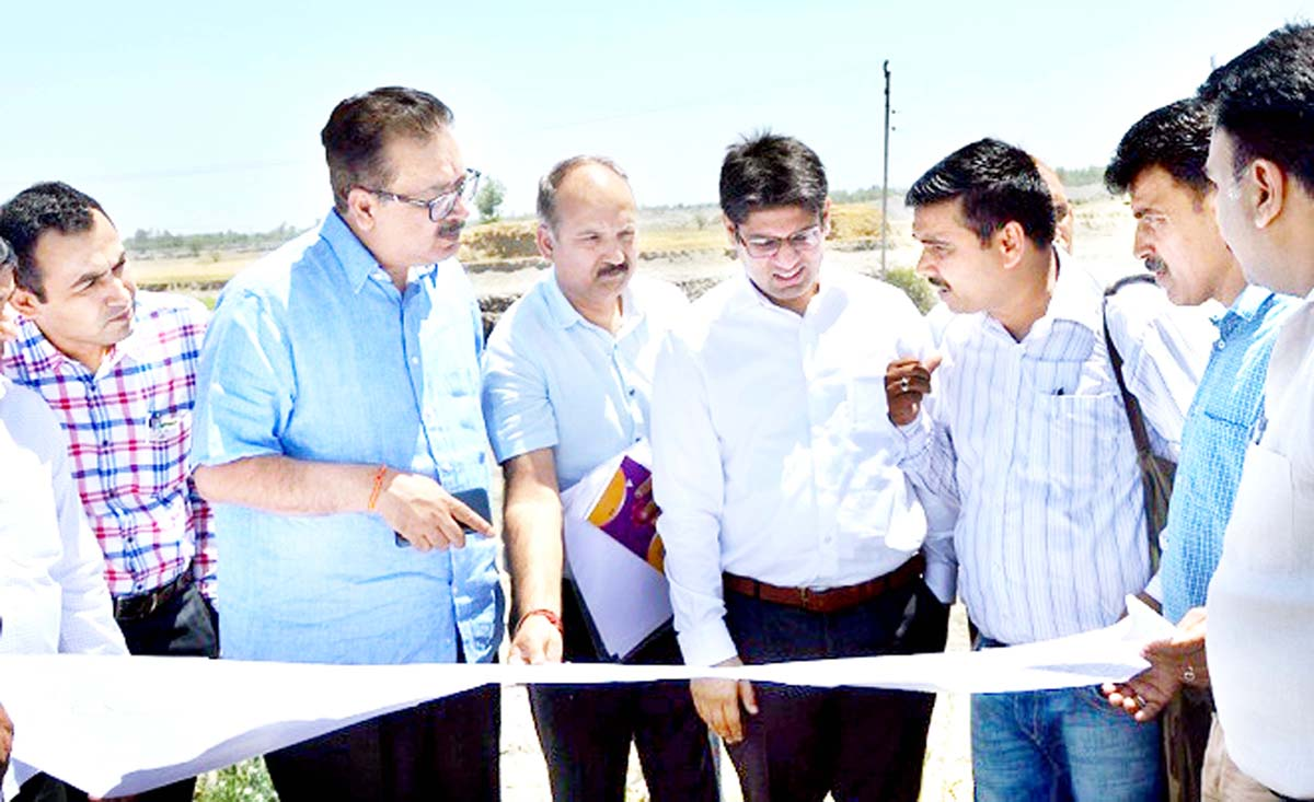 Principal Secretary Industries and Commerce Navin K. Choudhary during visit to an Industrial Estate on Monday.