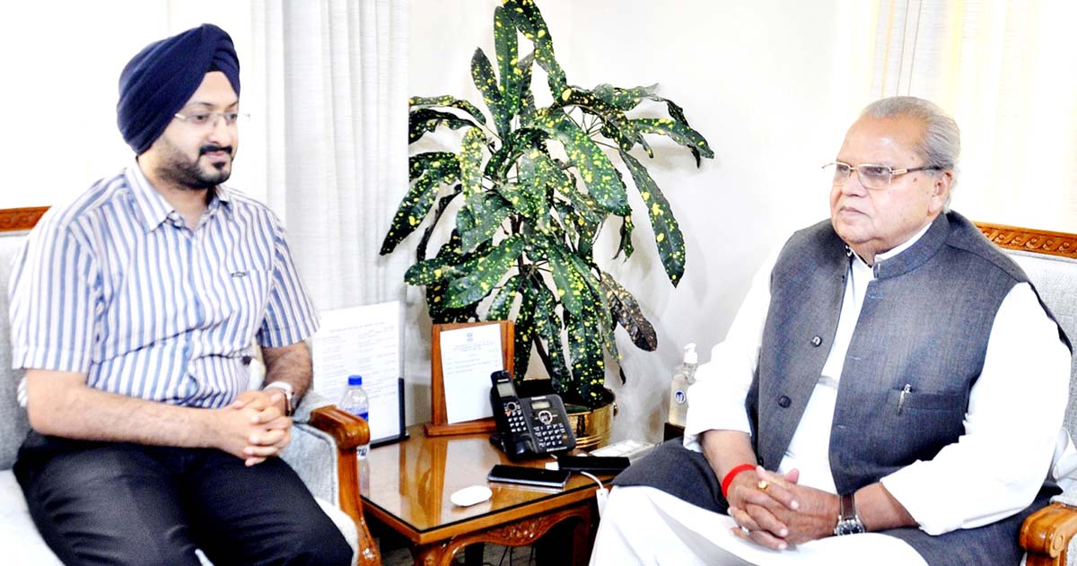 Governor Satya Pal Malik meeting with CEO SMVDSB, Simrandeep Singh on Monday.