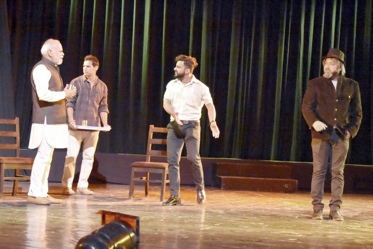A scene from the play 'Satyata Ki Udaan' staged at Abhinav Theatre on Monday. -Excelsior/Rakesh