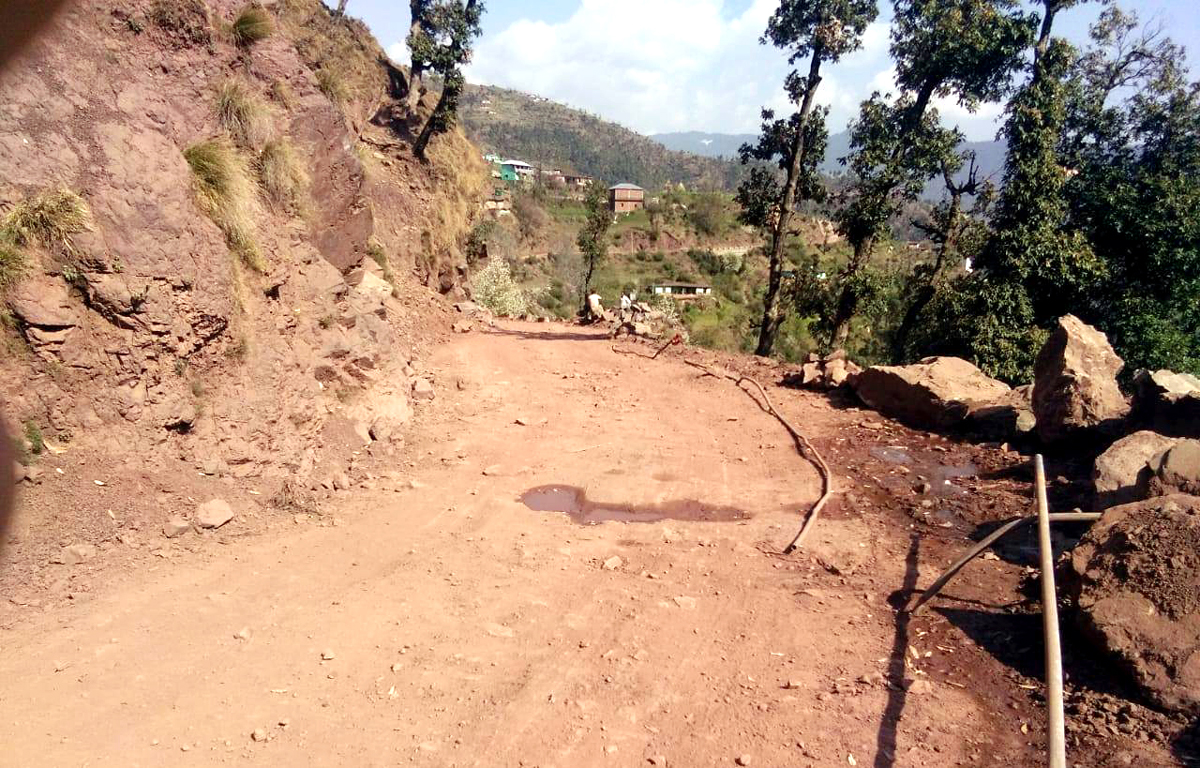 A view of Basantgarh road which has not been repaired since years.