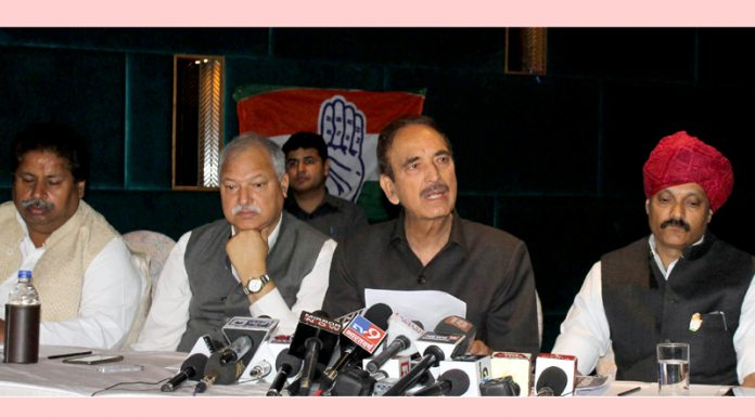 Ghulam Nabi Azad at a press conference in Jammu on Thursday. -Excelsior/Rakesh
