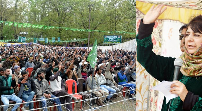 PDP president Mehbooba Mufti addressing a rally at Bijbehara in Anantnag on Monday. -Excelsior/Sajad Dar