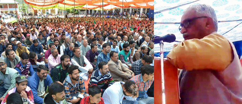 RSS national leader, Dr Manmohan Vaidya addressing a function to pay homage to martyr chanderkant & his PSO at Kishtwar on Friday.