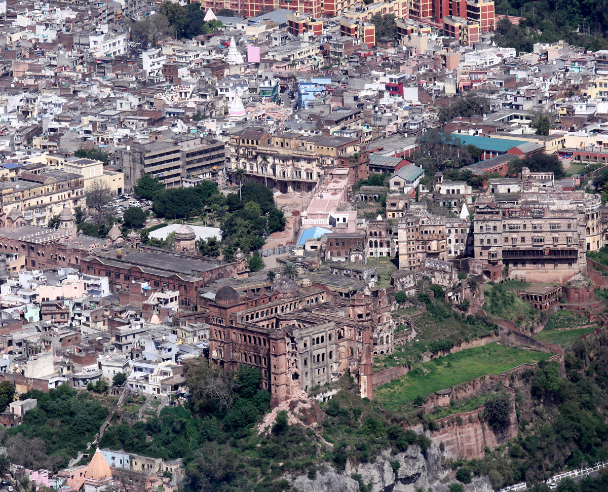 An aerial view of Mubarak Mandi Palace, a dying heritage, in Jammu. -Excelsior/Rakesh