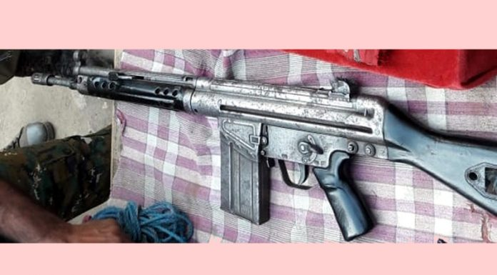Rifle used by Pakistan army seized in Kishtwar on Thursday.