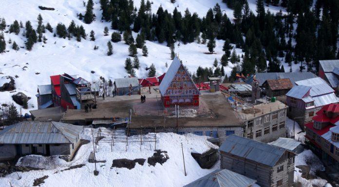 An aerial view of Machail Mata Ji shrine in Kishtwar district. —Excelsior/Rakesh