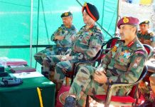 GOC-in-C Northern Command Lt Gen Ranbir Singh at a meeting in Kishtwar on Saturday.
