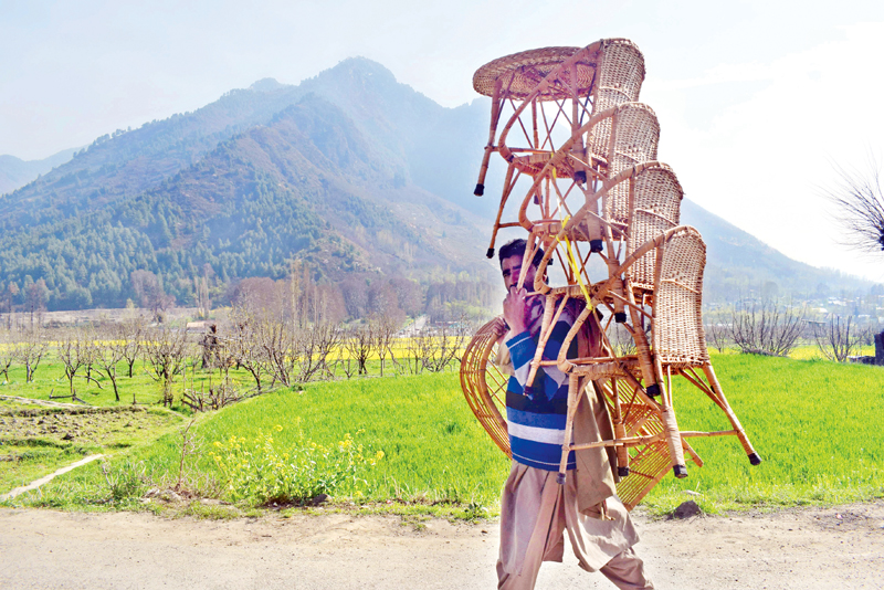 A man carries wicker chairs on the outskirts of Srinagar. —Excelsior/Shakeel