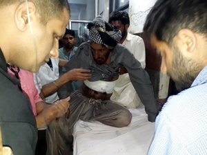 A civilian injured in Pakistan shelling being treated in Poonch hospital on Thursday. -Excelsior/Gurjeet Bhajan