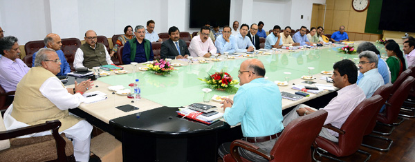 Governor Satya Pal Malik chairing meeting of Administrative Secretaries at Civil Secretariat in Jammu.