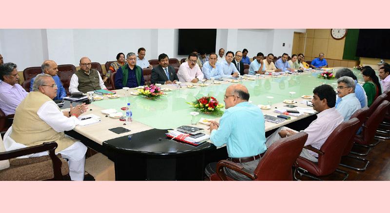 Governor Satya Pal Malik chairing meeting of Administrative Secretaries at Civil Secretariat in Jammu.