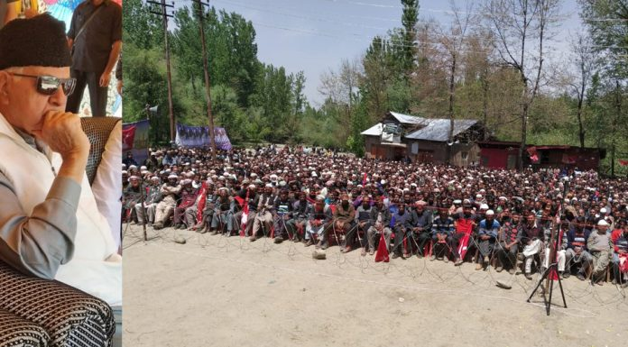 NC president Dr Farooq Abdullah addressing an election rally at Kulgam on Saturday. —Excelsior/Sajad Dar