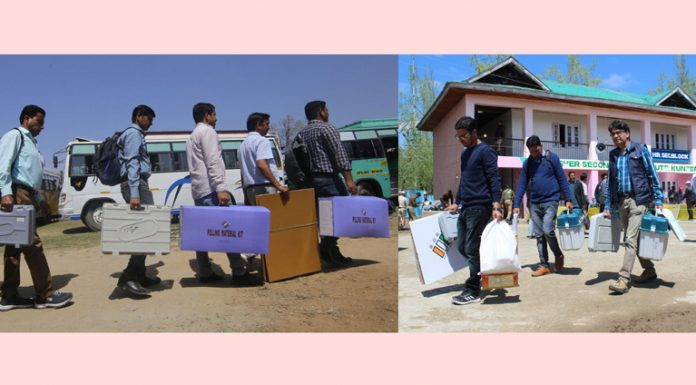 Election parties head for polling booths in Jammu (left) and Baramulla (right) on Wednesday. —Excelsior pics by Rakesh & Aabid Nabi