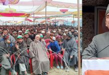 Congress leader Ghulam Nabi Azad addressing a rally at Larnoo, Kokernag on Tuesday. —Excelsior/Sajad Dar