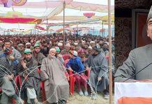 Congress leader Ghulam Nabi Azad addressing a rally at Larnoo, Kokernag on Tuesday. —Excelsior/Sajad Dar