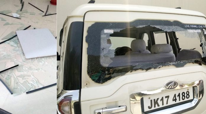 Office of DC Kishtwar Angrez Singh Rana (left) and a vehicle parked outside the office (right) damaged in mob attack on Saturday.