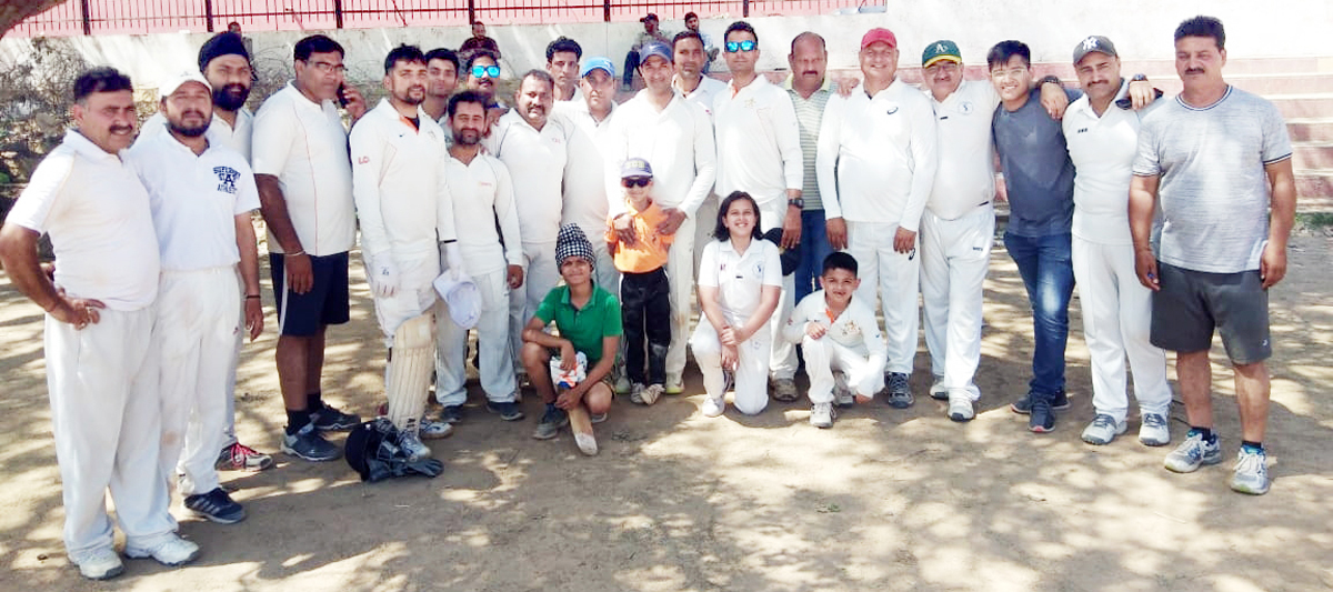 Winners posing for a group photograph after inaugural match of 'Salute & Tribute to Martyrs' Veteran T20 Cricket Tournament.