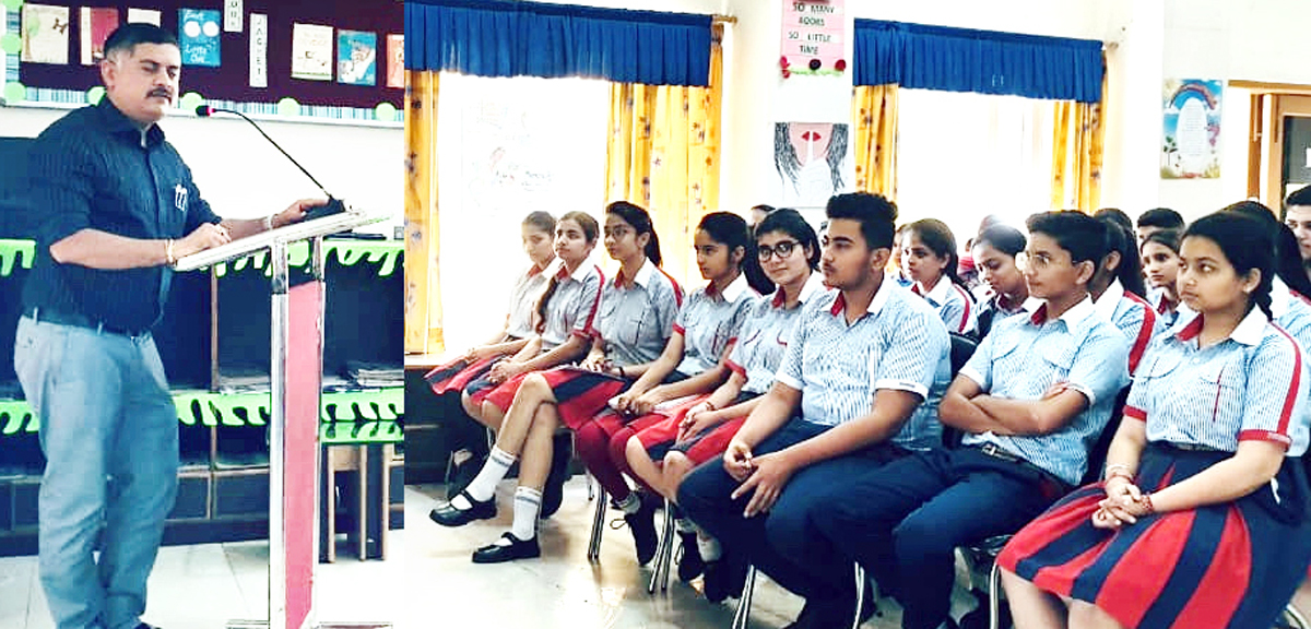 Amit Sharma, Special Secretary to Government, Transport Department addressing students at GD Goenka in Jammu.