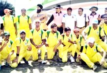 Martyr Ramesh Yadav XI players posing along with chief guest and other dignitaries in Jammu on Sunday.