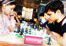 Players in action during Jammu division selection events at Hotel Nek in Jammu on Thursday.