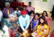 Dignitaries lighting ceremonial lamp during Annual Day celebration KV-1 Akhnoor on Tuesday.