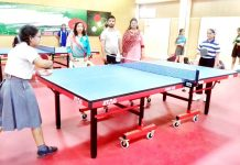 Players in action during Table Tennis competition organised by DYSSO Jammu at Indoor Complex, MA Stadium on Thursday.