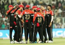 RCB players celebrating victory against Kolkatta Knight Riders in IPL 2019 at Kolkatta on Friday.