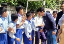 District Youth Services and Sports Officer Udhampur, Kharati Lal Sharma interacting with the students in Udhampur.