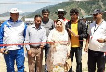 Principal Govt HSS Boys Bhaderwah, Shabnam Nijar inaugurating Zonal level tournament on Tuesday.