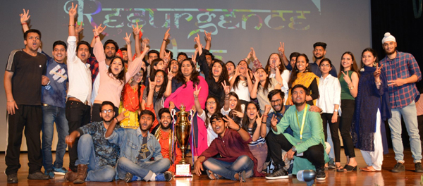 Students posing alongwith trophy during Annual Cultural Fest, Resurgence 2019 at Katra.