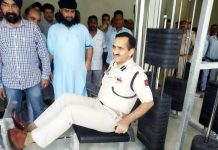 SSP Samba Dr Koshal Sharma while inaugurating Gym at Ghagwal on Tuesday.