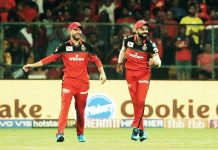 RCB skipper Virat Kohli and his team mate AB De Villars enjoying victory against Kings XI Punjab in IPL 2019 at Bengaluru.