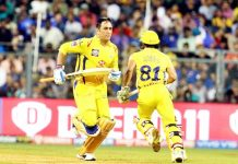 Mahendra Singh Dhoni during his knockoff unbeaten 84 runs against RCB at Bengaluru on Sunday.