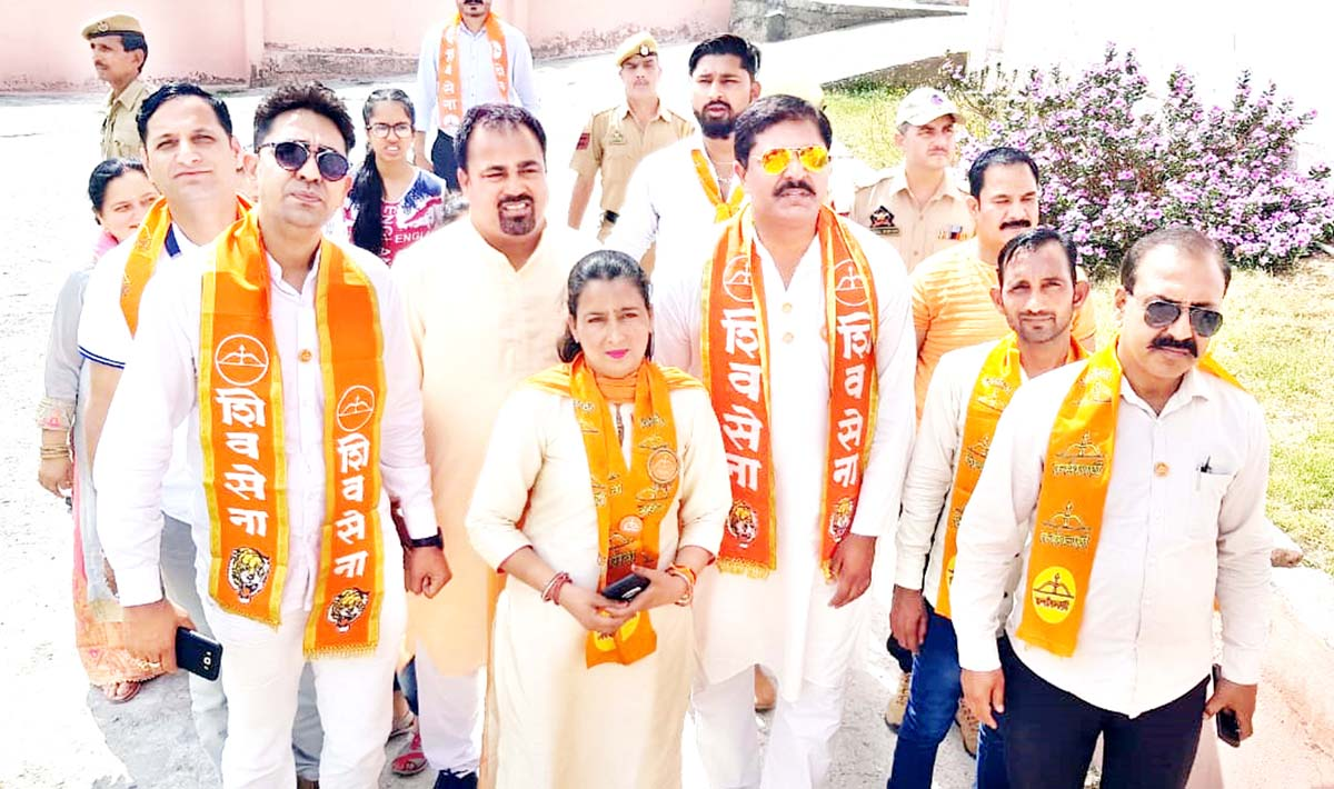 Shiv Sena leaders during a tour of Reasi district on Monday.