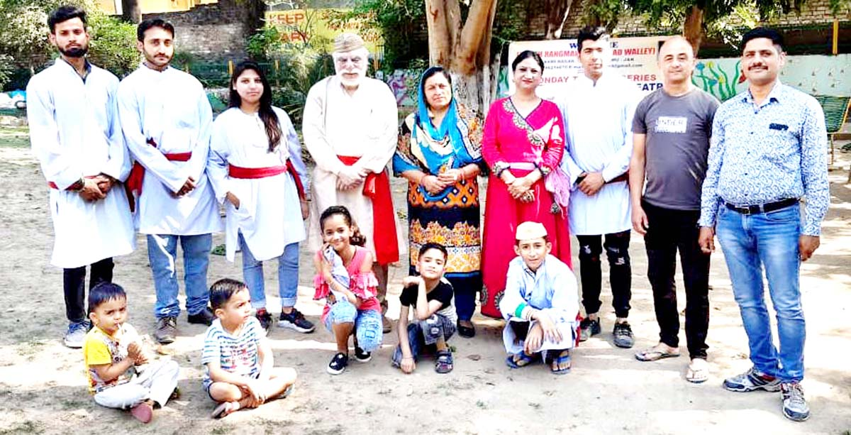 Artists after performing in the Nukad play 'Dharti Bachao' at Jammu on Monday.