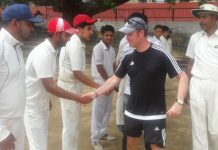 Rodney Jones ECB Coach interacting with players at Jammu on Thursday.