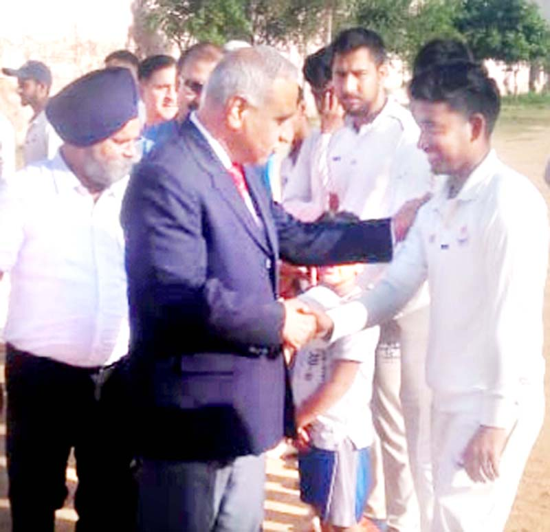 Former DGP Dr Ashok Bhan and Advisor for Sports and Youth Affairs, Govt of Lakshadweep, Ranjeet Kalra interacting with players at Parade Ground in Jammu on Saturday.