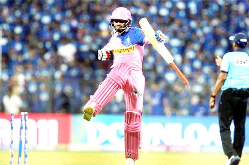 Rajasthan Royal's batsman celebrating victory against Mumbai Indias at Mumbai on Saturday.