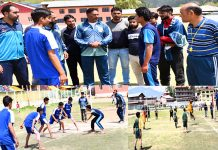 Players in action during Inter School Tournament in Kupwara.