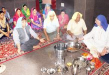 A Yagya being organised at Vishwa Bharati School during the celebration of 69th Foundation Day.