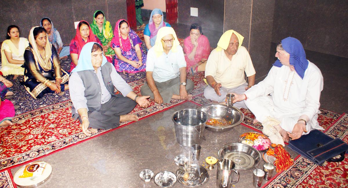 A Yagya being organised at Vishwa Bharati School during the celebration of 69th Foundation Day.