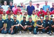 Physically Challenged Cricketers posing along with CEO JKCA, Syed Ashiq Hussain Bukhari and Jang Bahadur Singh Jamwal at GGM Science College ground on Saturday.