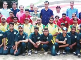 Physically Challenged Cricketers posing along with CEO JKCA, Syed Ashiq Hussain Bukhari and Jang Bahadur Singh Jamwal at GGM Science College ground on Saturday.