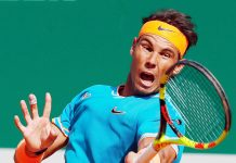 Rafael Nadal of Spain hits a return during the men's singles quarterfinal match against Guido Pella of Argentina at the Monte-Carlo Rolex Masters tennis tournament in France.