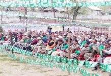 PDP president Mehbooba Mufti addressing a rally in Kulgam on Sunday.