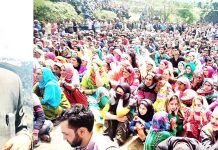 Senior AICC leader Ghulam Nabi Azad addressing election rally at Bhaderwah. -Excelsior/Tilak Raj