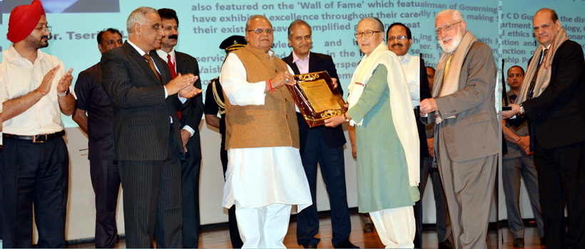 Governor Satya Pal Malik felicitating doctors for their life time contribution to medical prefession at SMVDU Katra on Friday.
