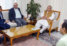 Governor Satya Pal Malik during a meeting with team of TATA Group at Raj Bhawan in Jammu on Saturday.